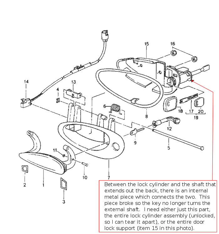 porsche 944 door handle diagram