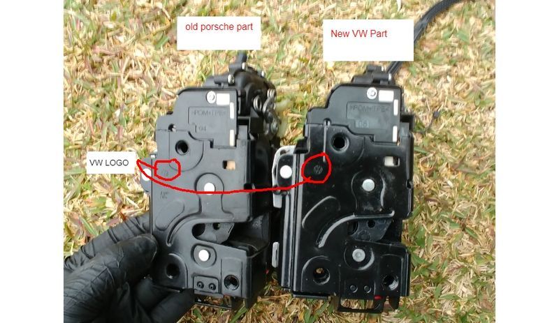 Replacing a 97 Boxster lock actuator with VW parts (with comparison